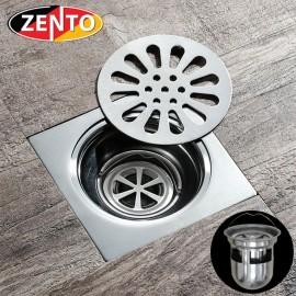 Phễu thoát sàn chống mùi hôi inox Zento TS123 (118x118mm)